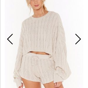 Nasty Gal Textured Knit Crew Neck Top NWT